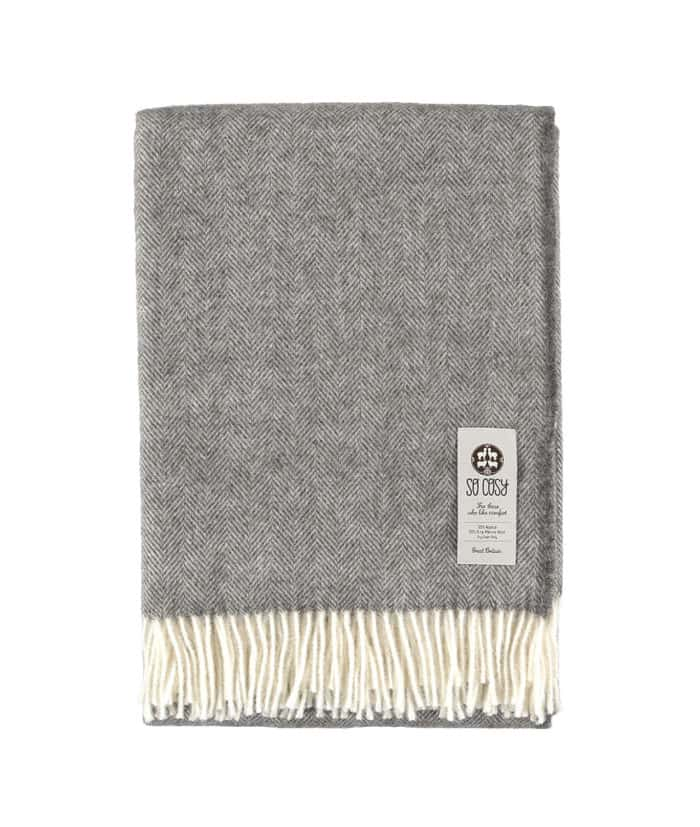 alpaca merino wool undyed grey herringbone throw