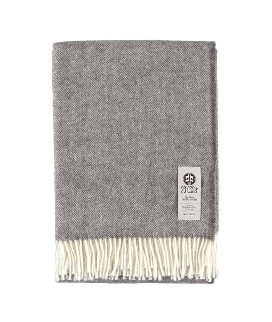 alpaca merino wool undyed grey herringbone throw