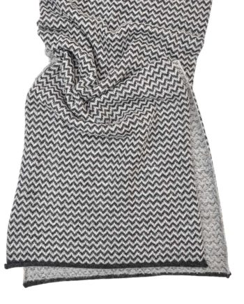 so cosy large knitted chevron pattern charcoal and soft grey scarf open