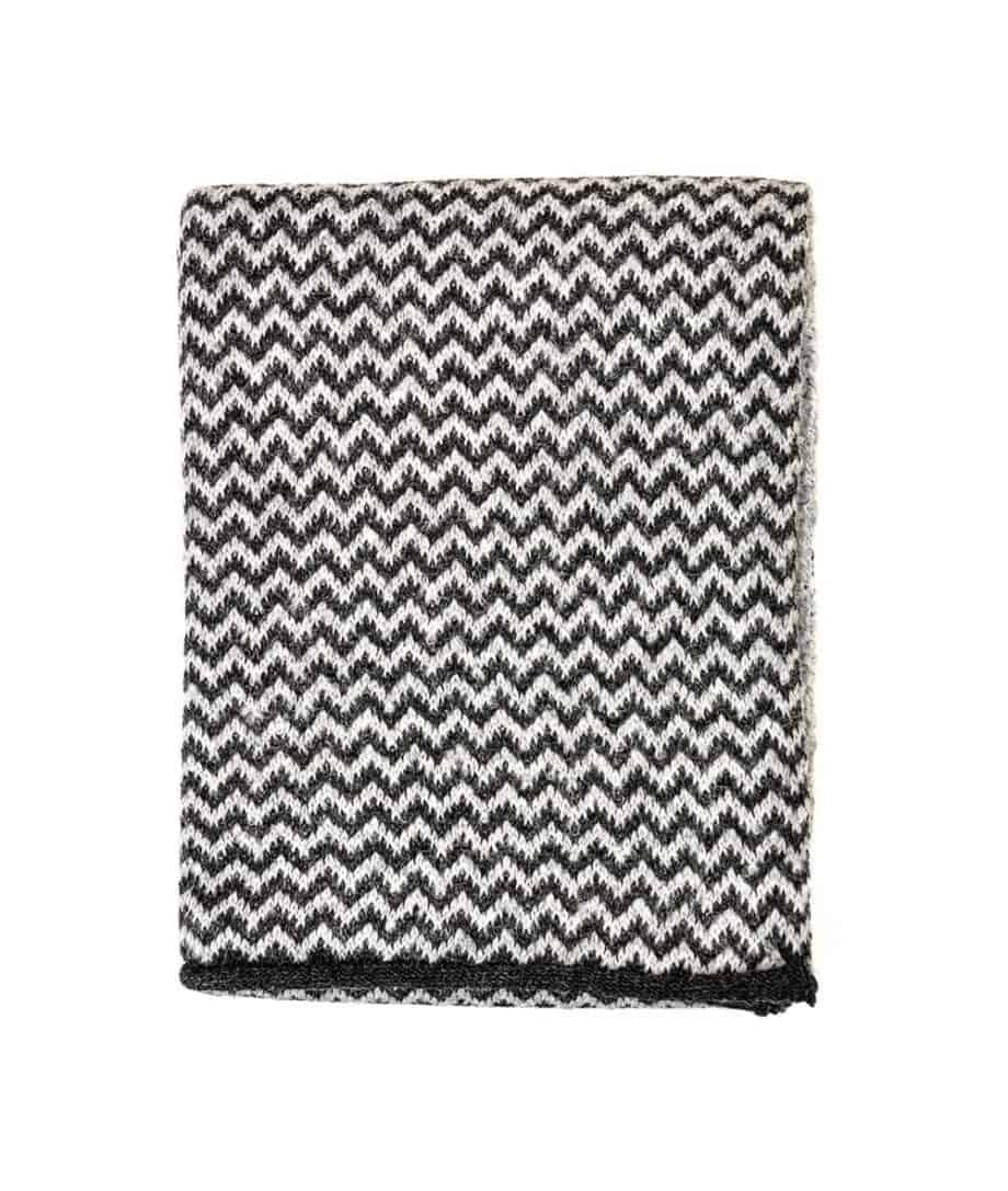 knitted chevron charcoal and soft grey colour scarf