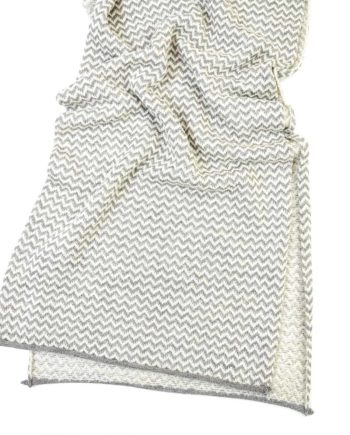 knitted chevron pattern silver grey and white colour cosy scarf open
