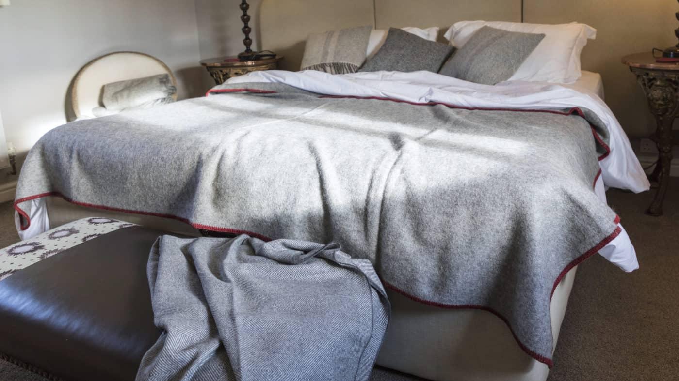 natural organic gotland sheep pure wool grey throw blanket