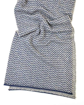 soft alpaca wool scarf in knitted chevron pattern navy soft grey colour