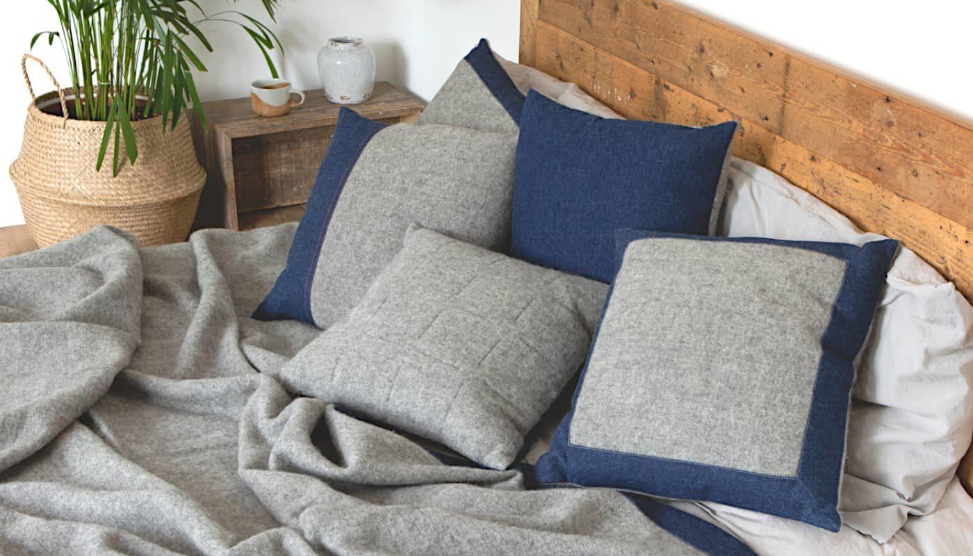 handcrafted gotland wool denim cushions throws