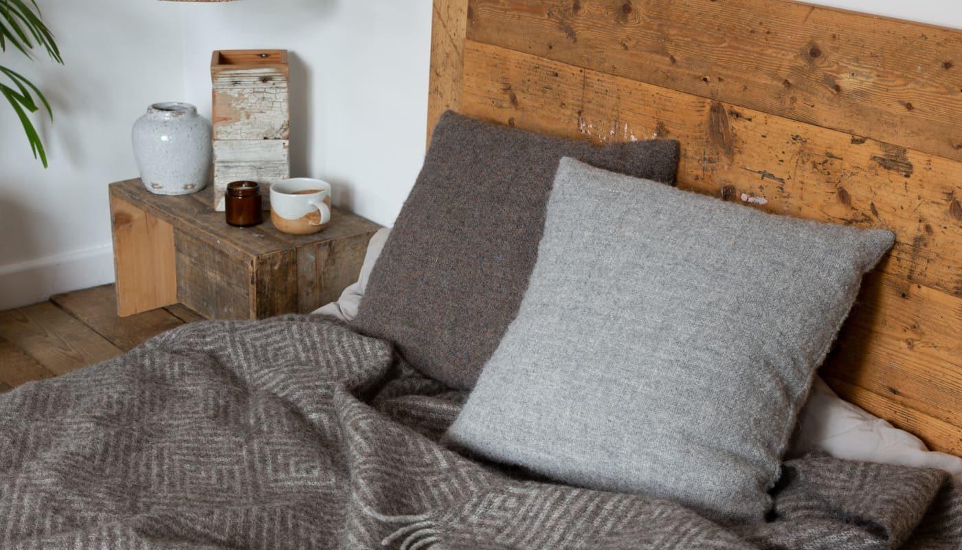 boucle soft cosy alpaca wool cushion