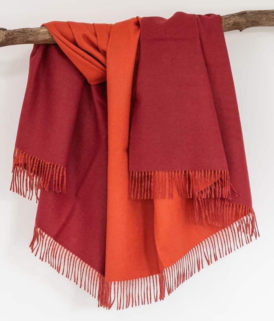 reversible crimson red orange baby alpaca wool throw
