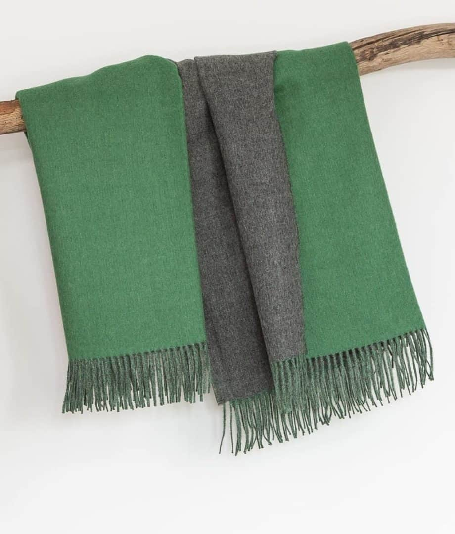 forest green natural grey baby alpaca wool reversible throw