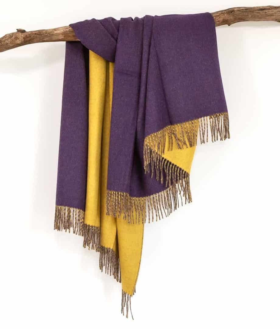 purple goldenrod baby alpaca wool throw