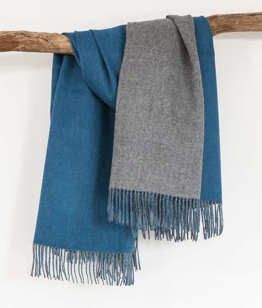 teal natural grey alpaca wool reversible throw