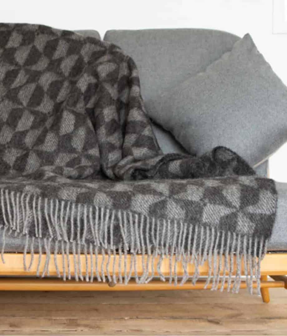 black and grey undyed gotland wool large throw