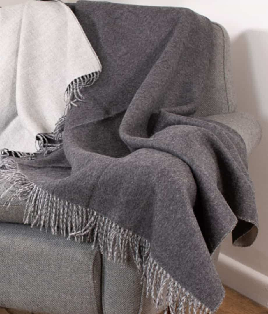 undyed charcoal light grey baby alpaca wool throw