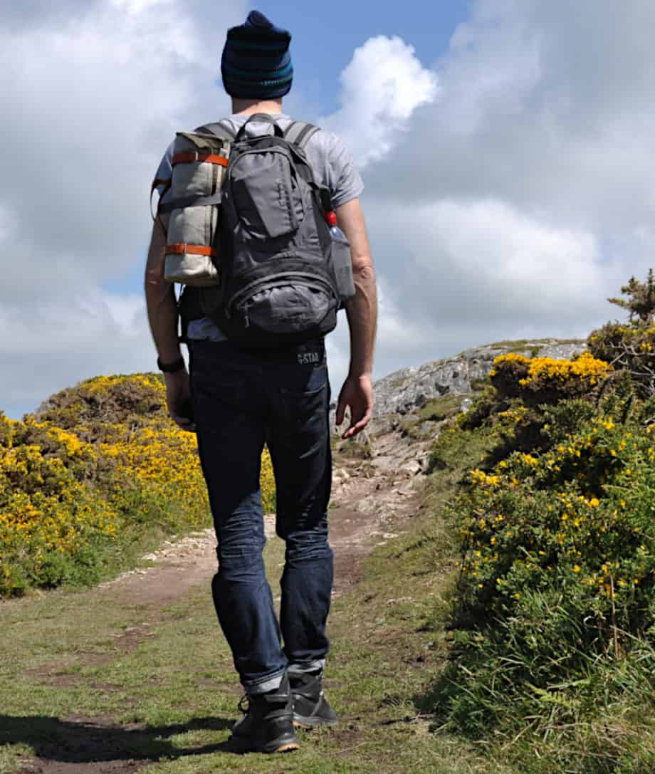 hiking in wales with roll up picnic blanket made by so cosy