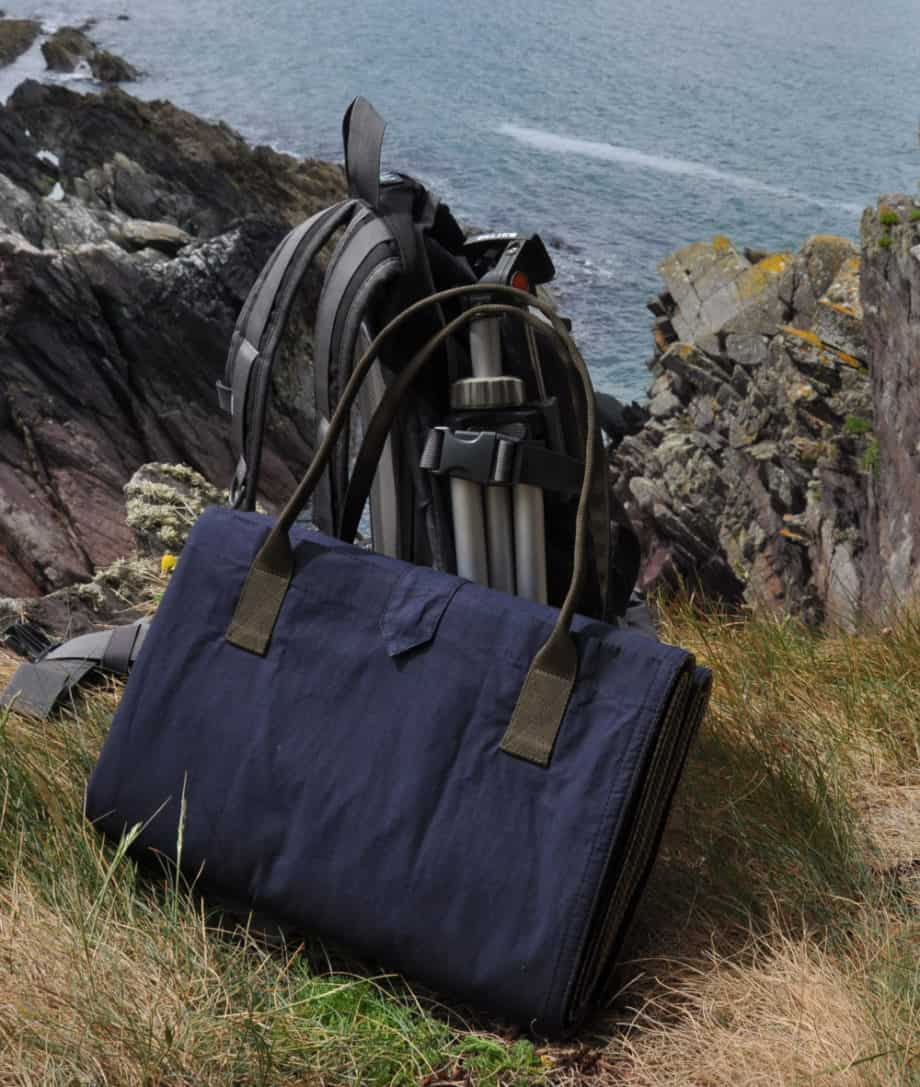 navy night waxed cotton fold up quality picnic blanket