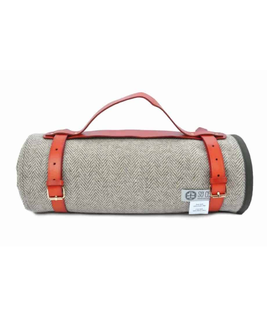olive green wax cotton and pure wool roll up picnic blanket by so cosy