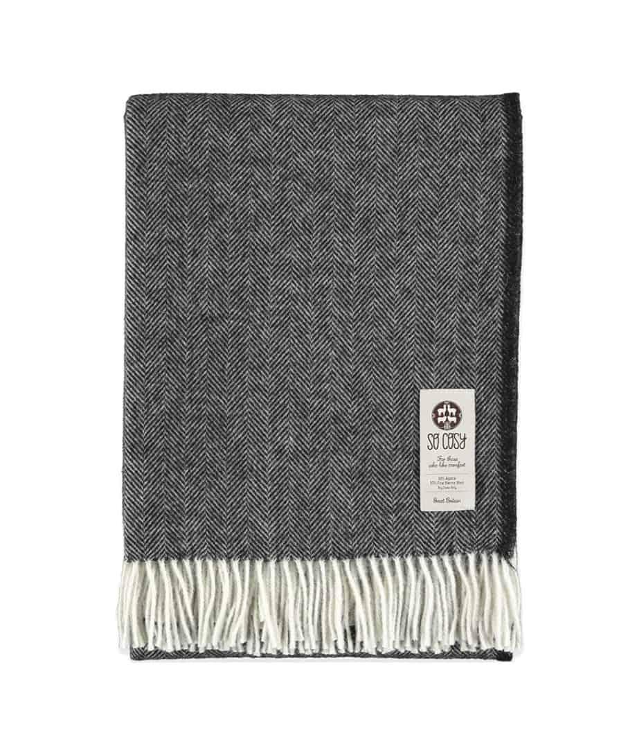 alpaca merino wool black cream herringbone sofa throw