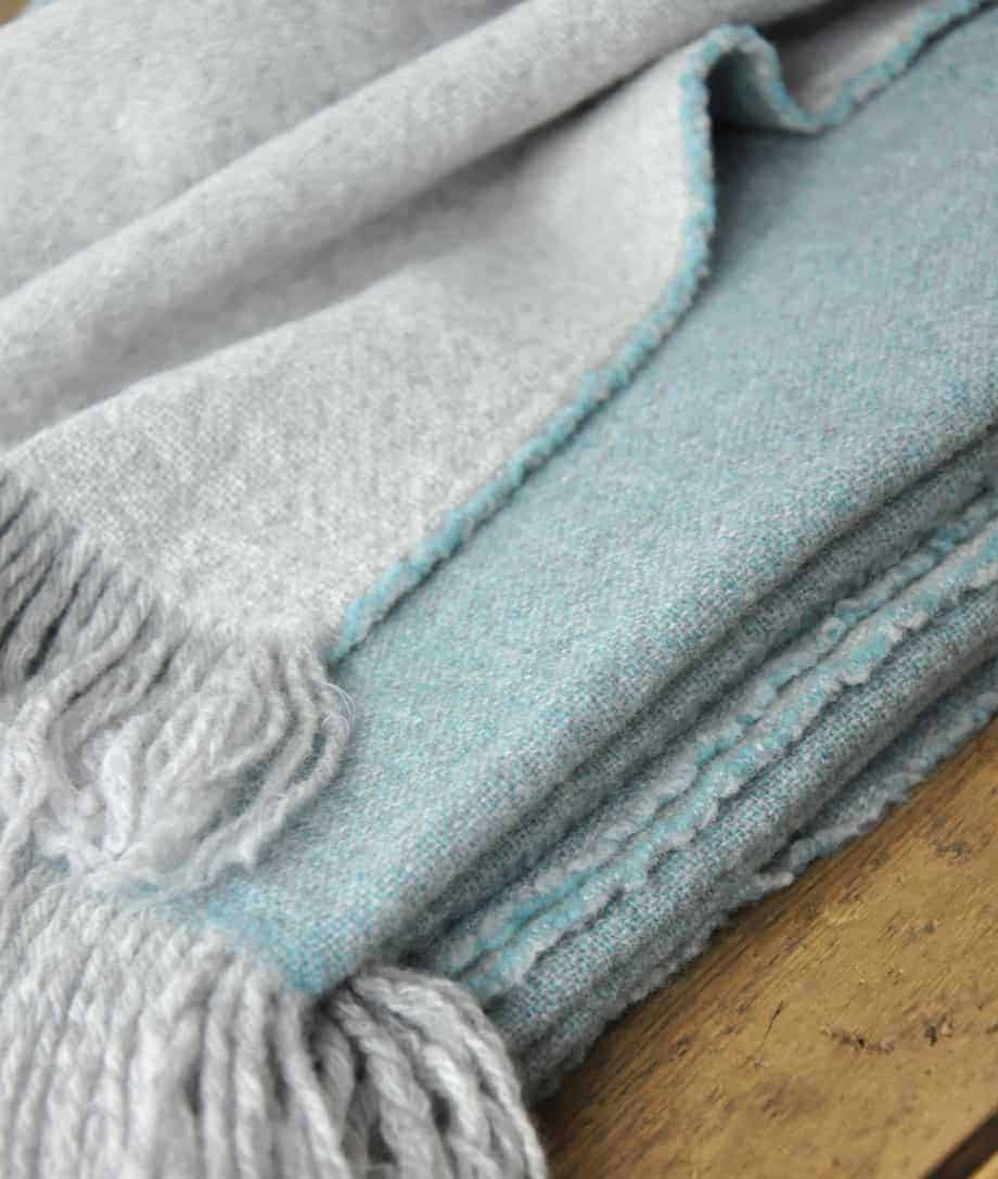 aqua blue double face merino wool throw