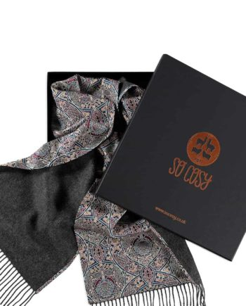 charcoal scarf liberty gambier print in gift box