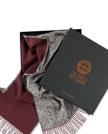 tawny port and gambier print scarf in box