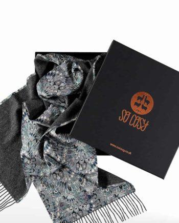 dark grey liberty fabric scarf in gift box