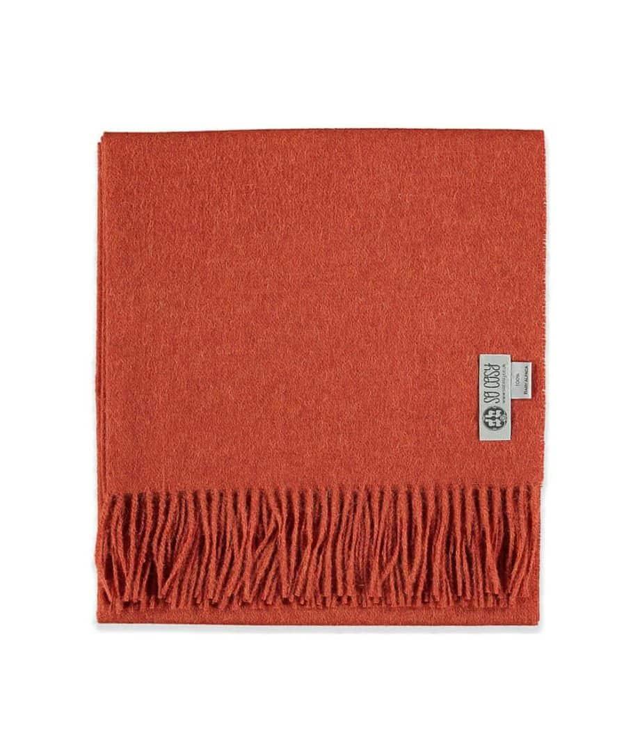 unique baby alpaca wool shawl in deep orange colour