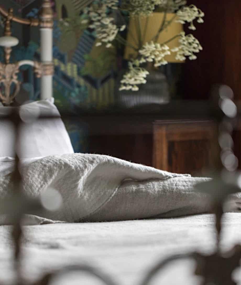 soft merino wool large bedspread in grey white