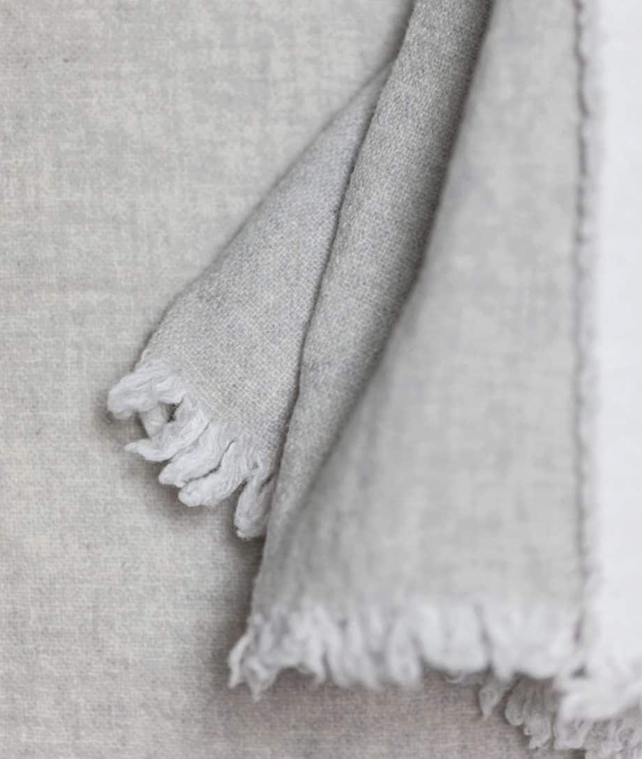 cosy soft fine merino wool reversible bedspread in light grey white