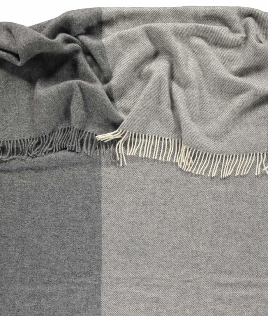 light grey dark grey gotland sheep wool large bed blanket throw