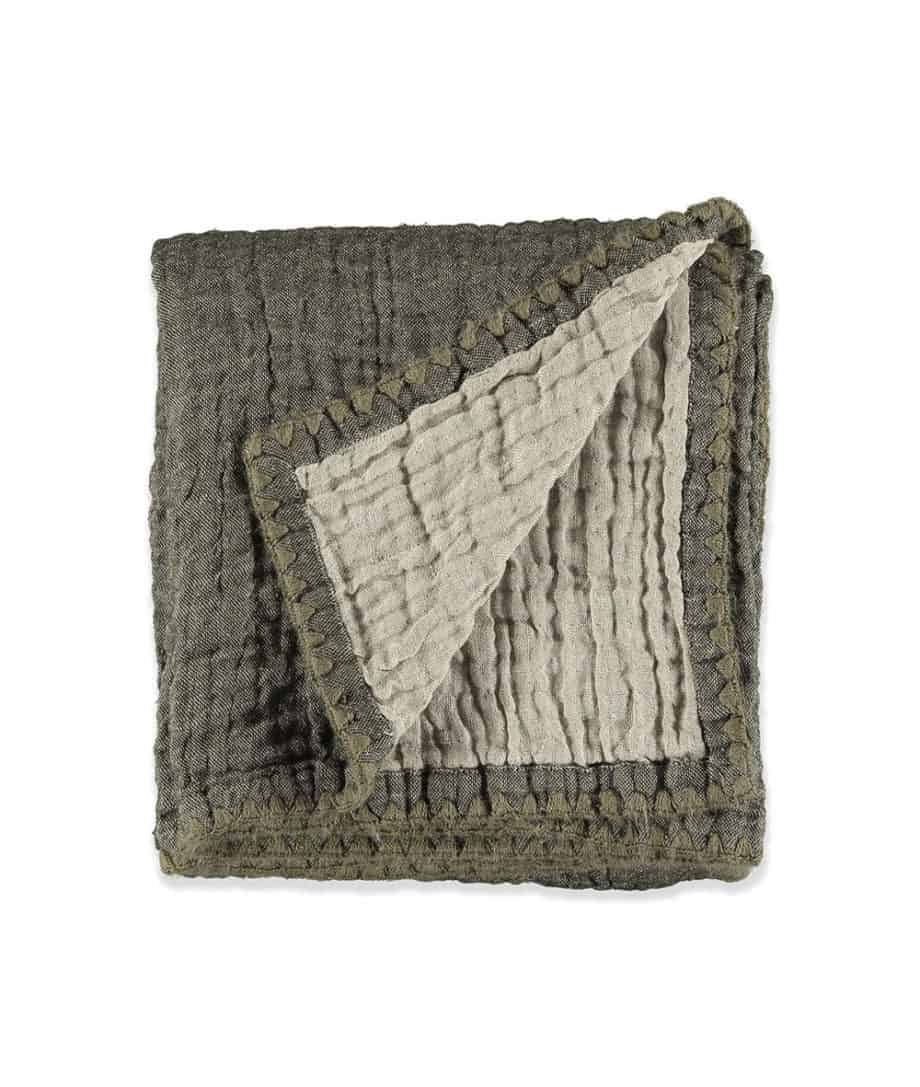 linen wool throw in olive green taupe colour