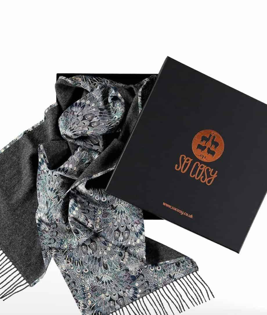 luxury ladies mens scarf in dark grey made from liberty fabric in gift box
