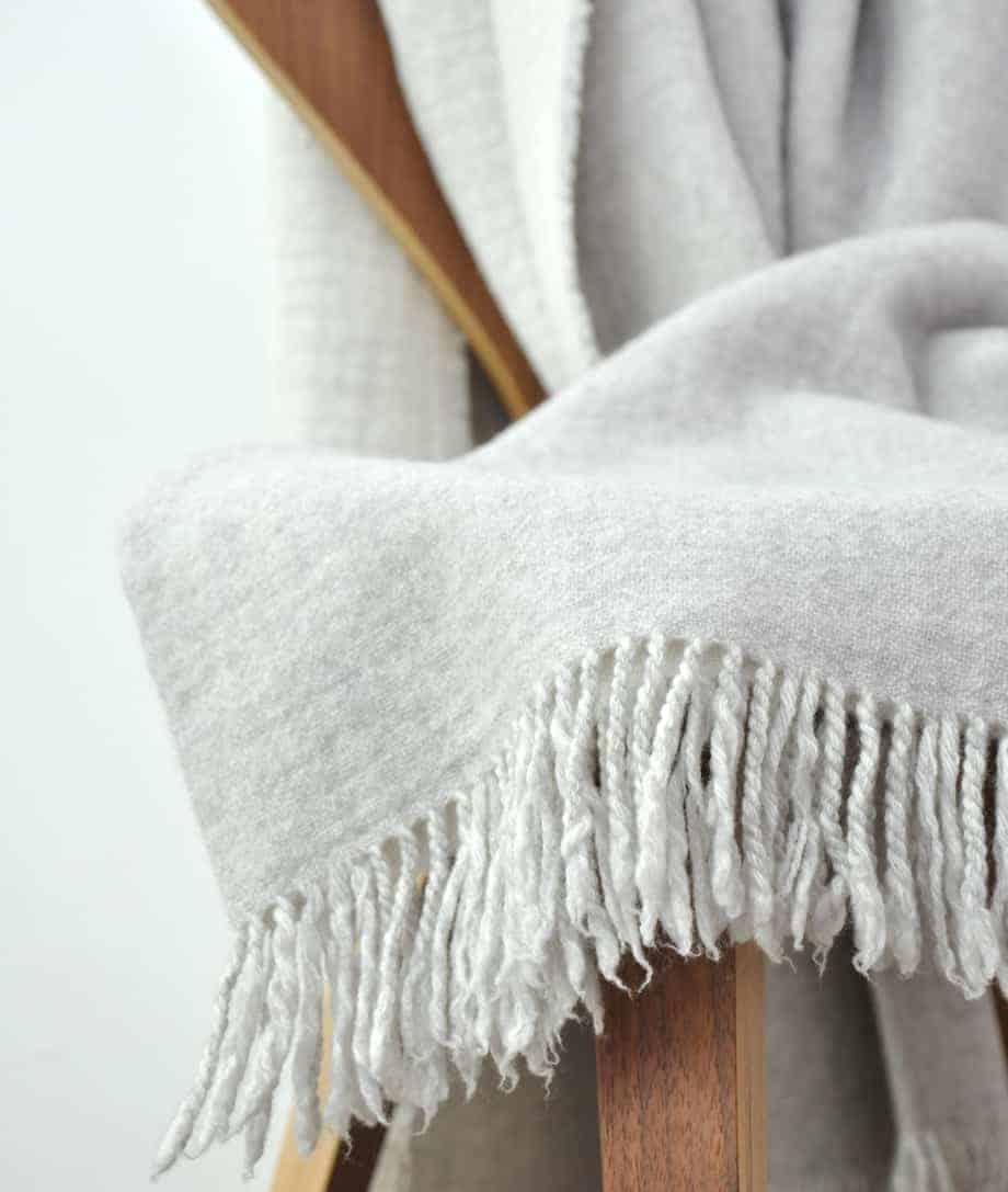 light grey double face luxury merino wool blanket from so cosy