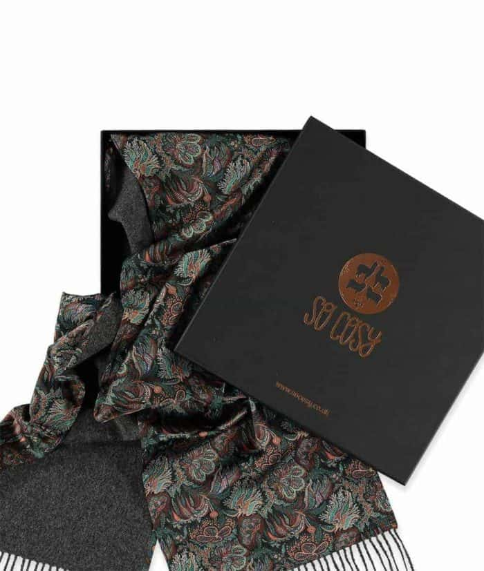 luxury scarves made with liberty fabric paisley corals print in gift box