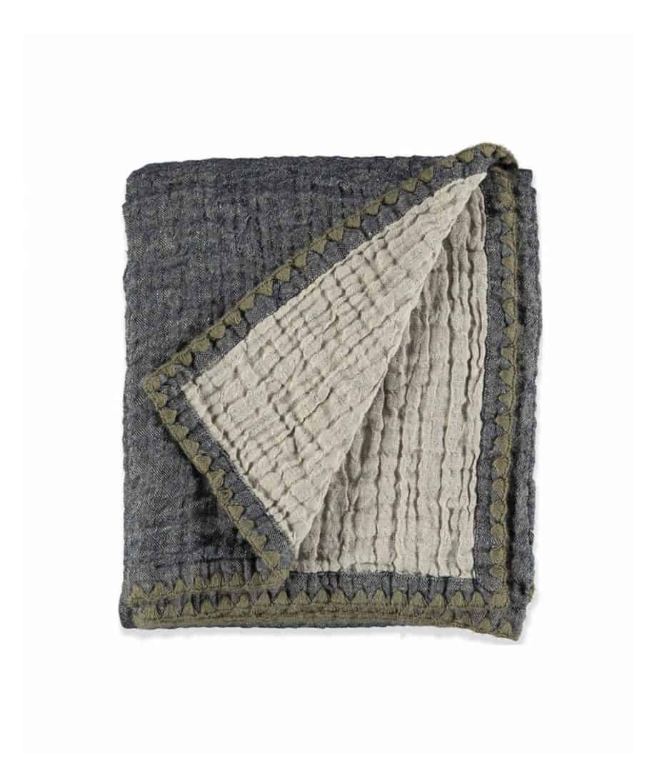 natural linen wool throw in navy taupe