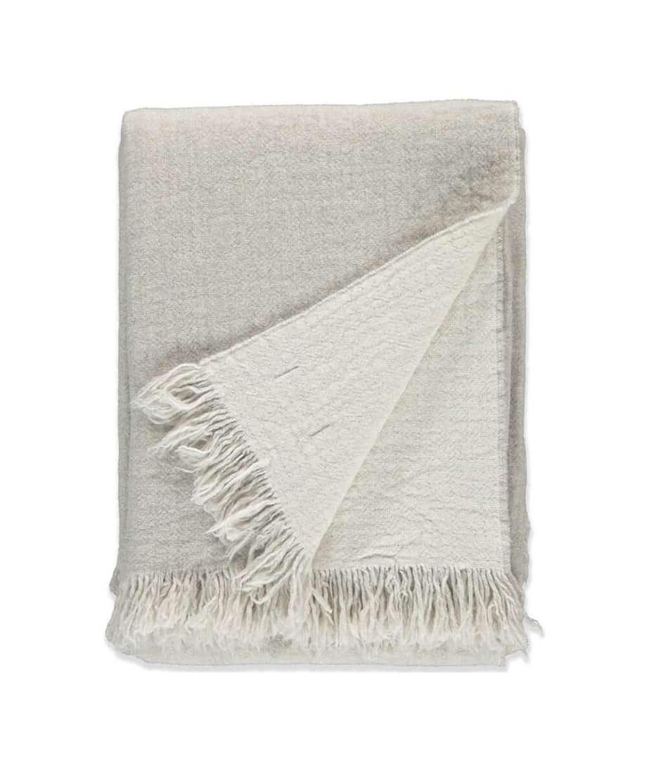 Cloudy Grey & White Merino Wool Throw