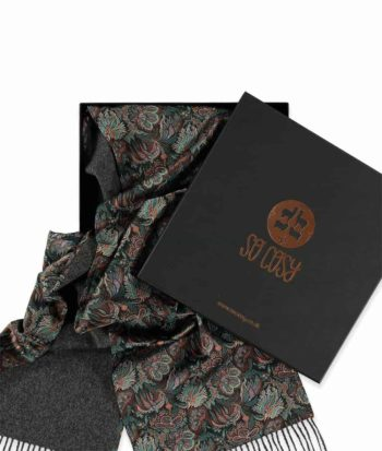 liberty paisley corals print charcoal scarf in box