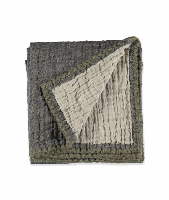 reversible linen wool throw grey taupe