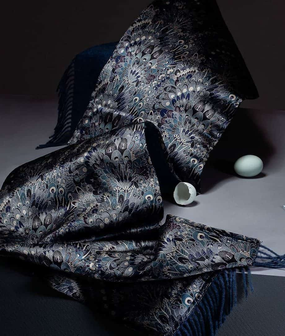 liberty eben print silk and denim colour alpaca wool so cosy scarf