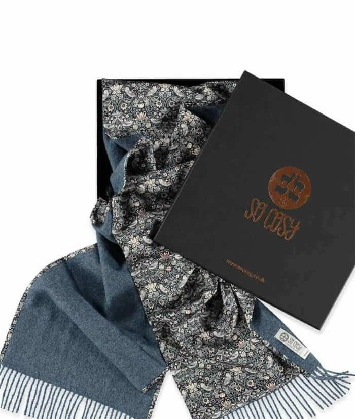 unique liberty fabric strawberry thief print denim scarf in gift box