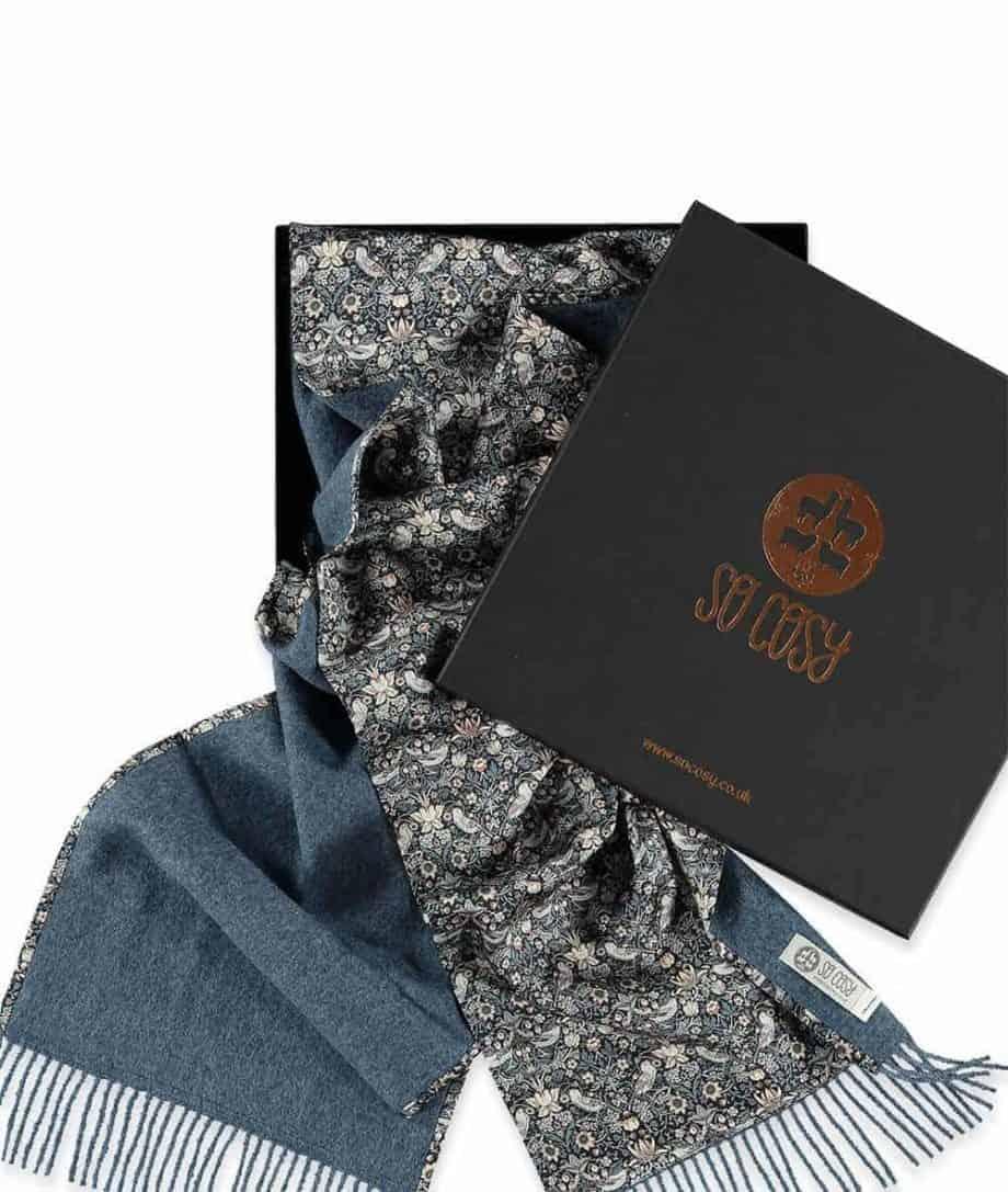 unique liberty fabric strawberry thief print denim scarf in gift box