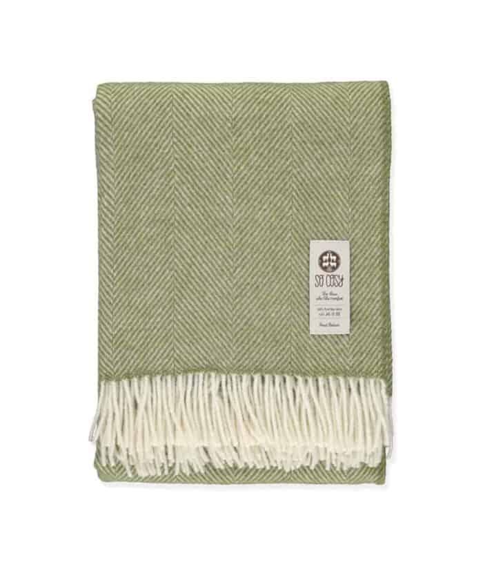 Apple Green & White Dani Pure New Zealand Wool Throw