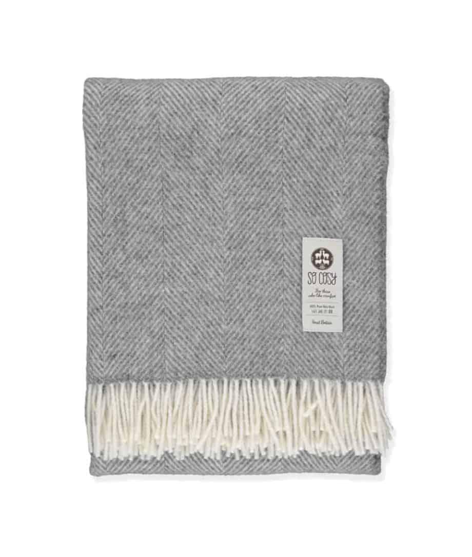 dani steel grey white herringbone throw pure wool
