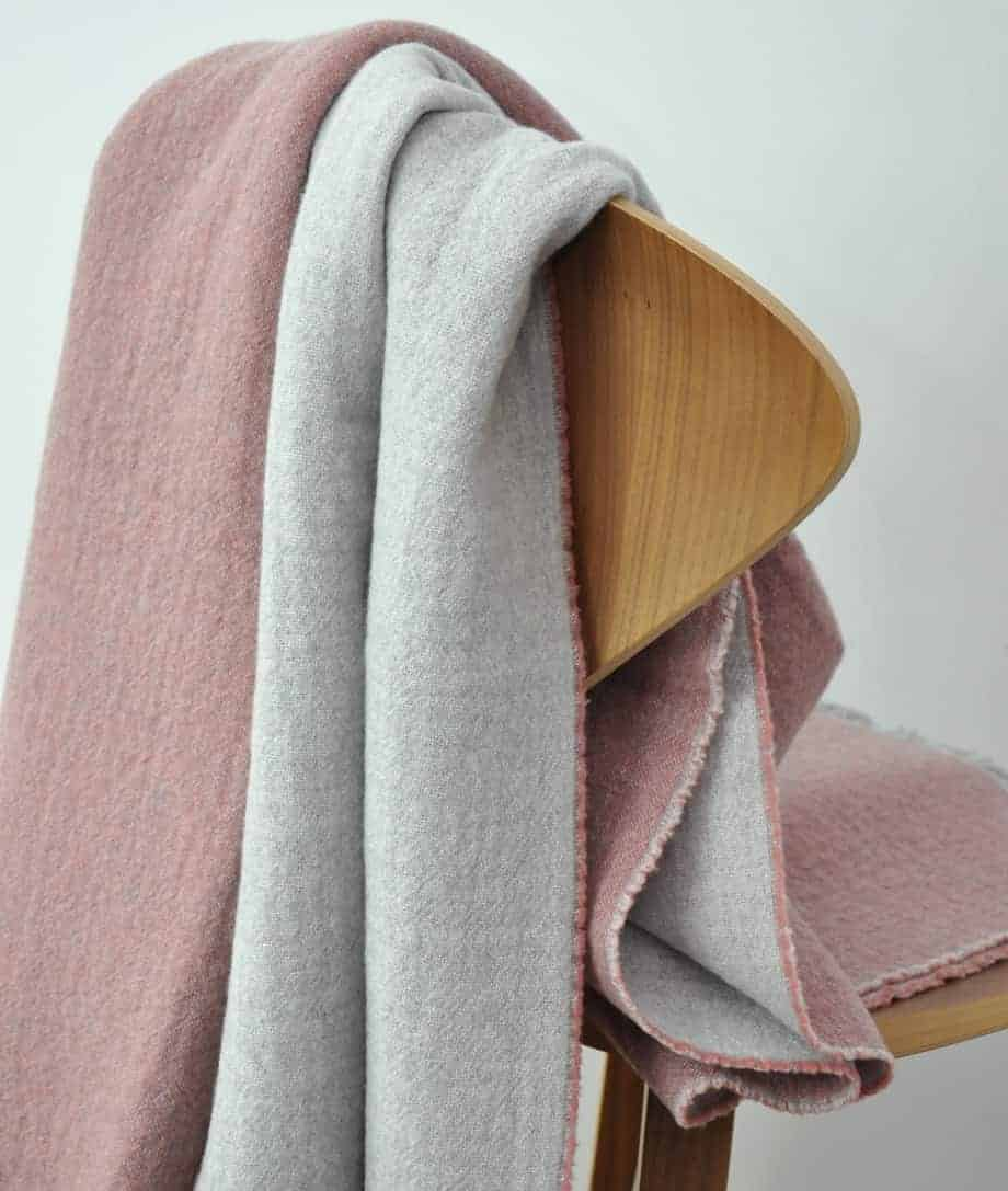 light rose grey super soft merino wool throw
