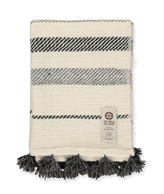 Nazca handgewebte Decke Dunkelgrau Weiß