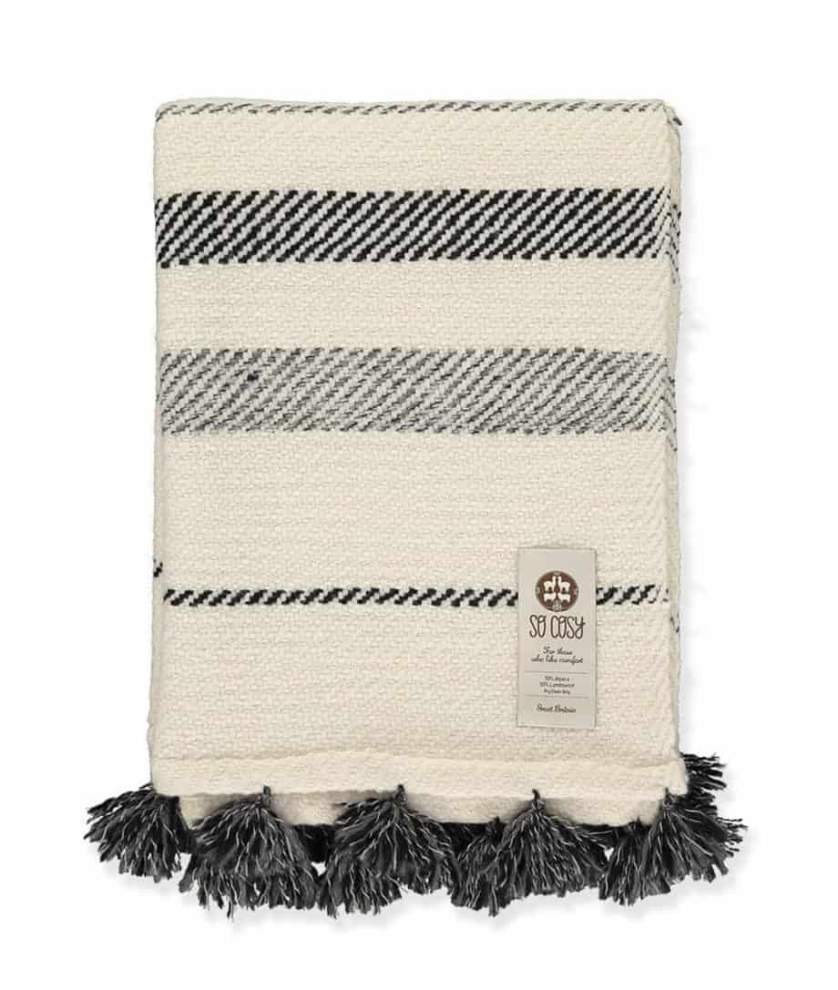 Nazca Hand Woven Blanket Charcoal White