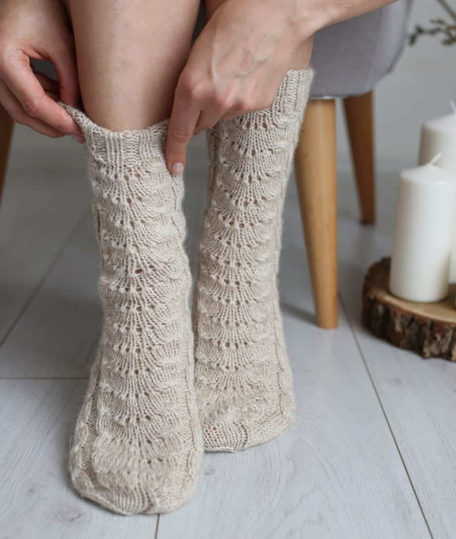 Von Hand gestrickte Socken