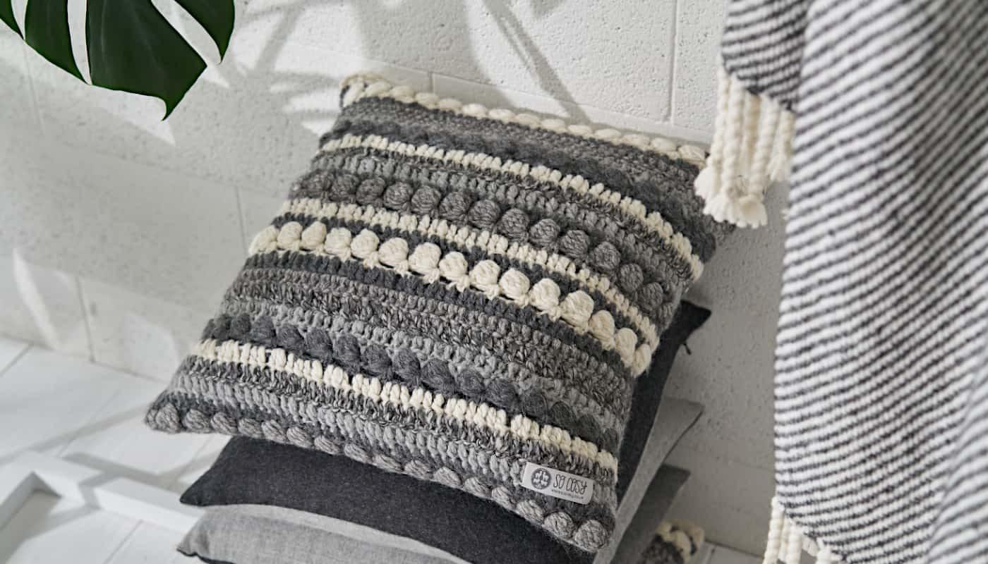 hand crochet soft baby alpaca wool cushion grey