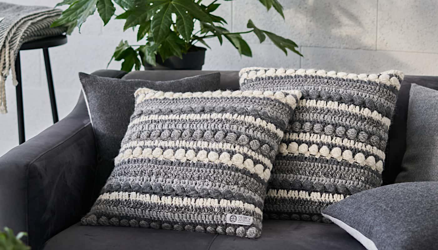 luxury grey alpaca wool cushions