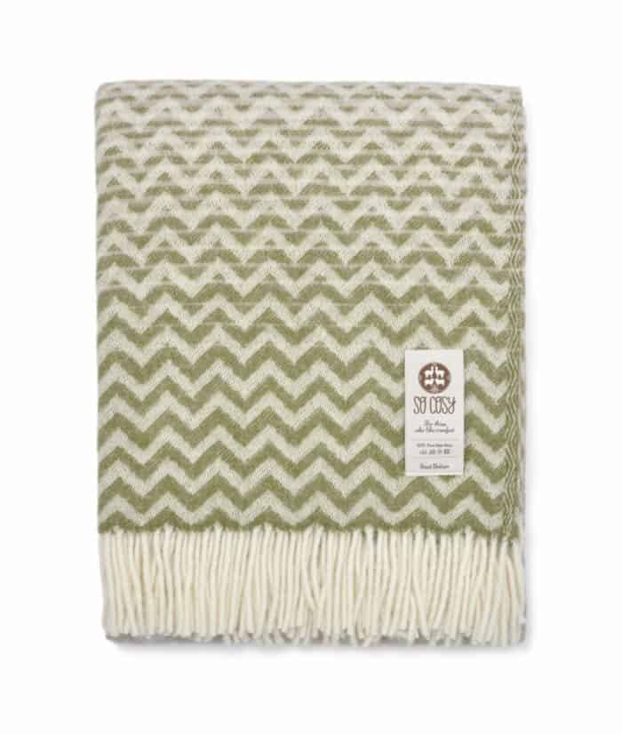 Chevron design wool blanket in apple green and light brown colour combination