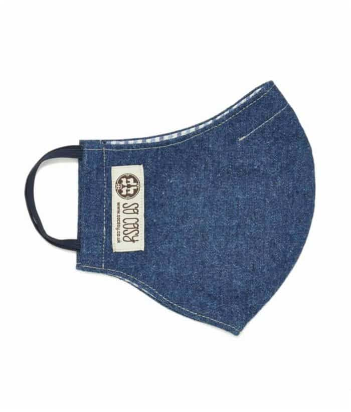 hand made face covering mask made from denim
