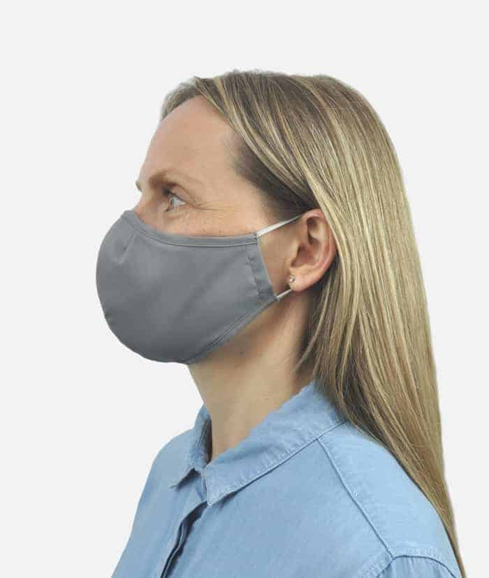 grey face covering mask