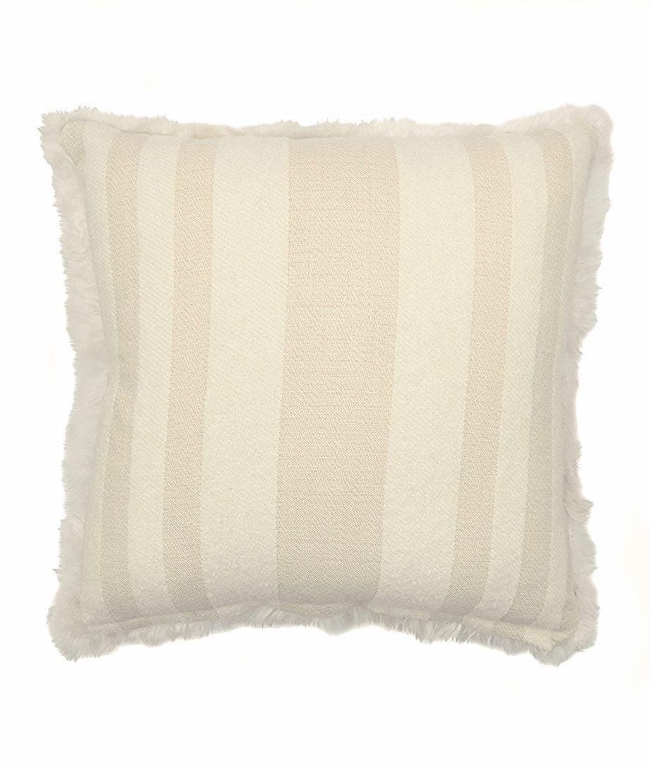 luxury cushion suri alpaca fur white and cream